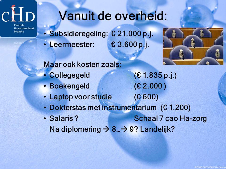 Vanuit de overheid: Subsidieregeling: € 21.000 p.j.