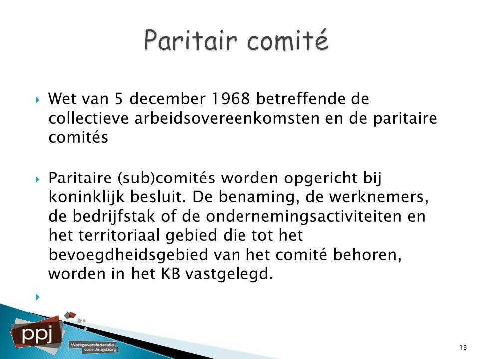 Paritair comité Wet van 5 december 1968 betreffende de collectieve arbeidsovereenkomsten en de paritaire comités.