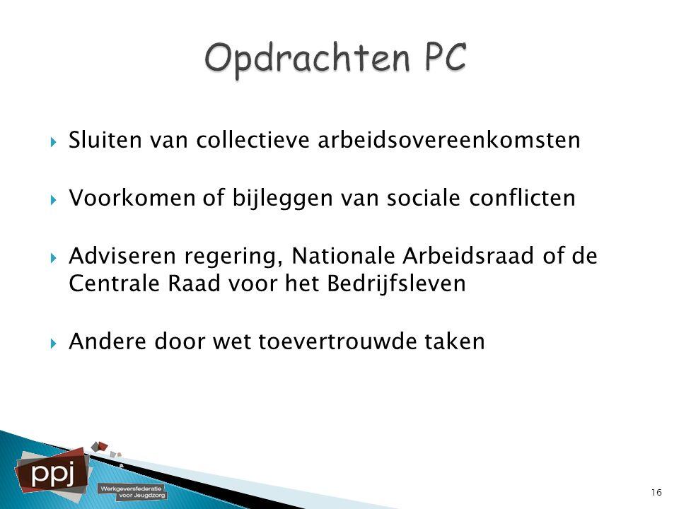 Opdrachten PC Sluiten van collectieve arbeidsovereenkomsten