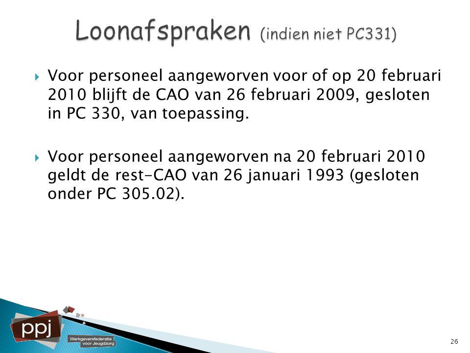 Loonafspraken (indien niet PC331)