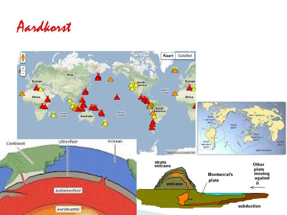 Aardkorst Voordat ik iets over vulkanen kan uitleggen, moeten jullie iets weten over de aardkorst. Binnen vloeibaar.