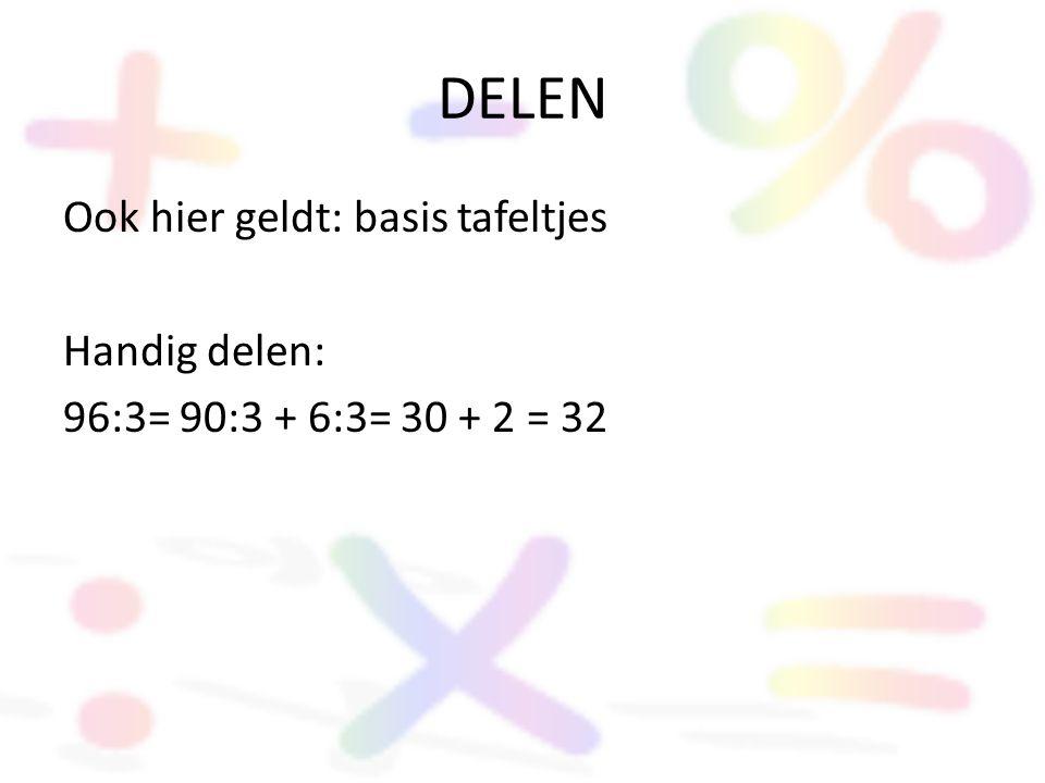 DELEN Ook hier geldt: basis tafeltjes Handig delen: 96:3= 90:3 + 6:3= 30 + 2 = 32
