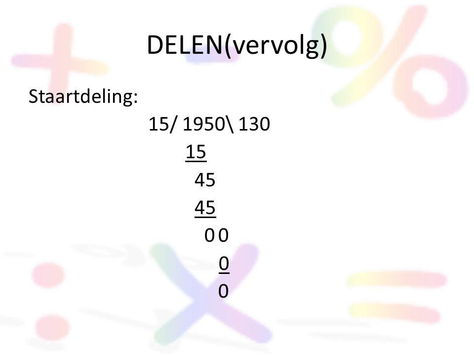 DELEN(vervolg) Staartdeling: 15/ 1950\ 130 15 45 0 0 0