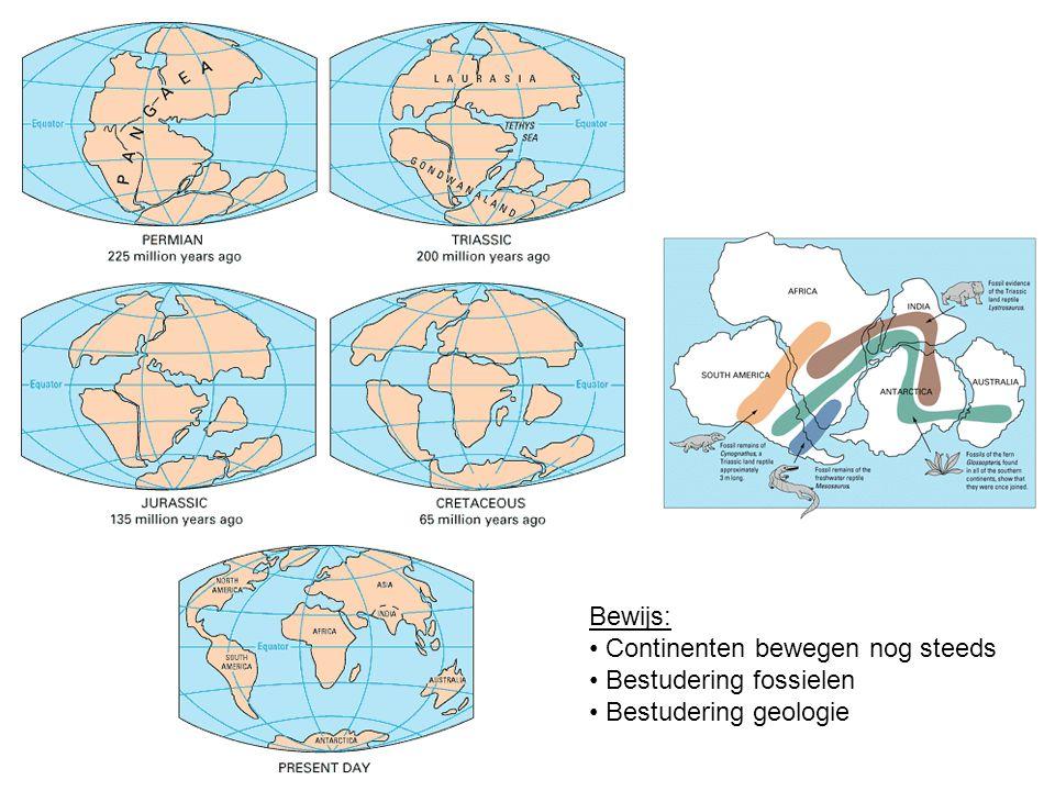 Bewijs: Continenten bewegen nog steeds Bestudering fossielen Bestudering geologie