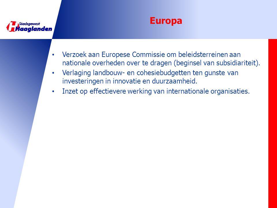 Europa Verzoek aan Europese Commissie om beleidsterreinen aan nationale overheden over te dragen (beginsel van subsidiariteit).