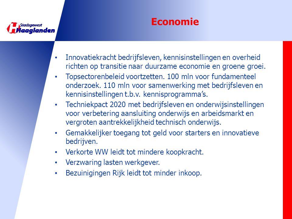 Economie Innovatiekracht bedrijfsleven, kennisinstellingen en overheid richten op transitie naar duurzame economie en groene groei.