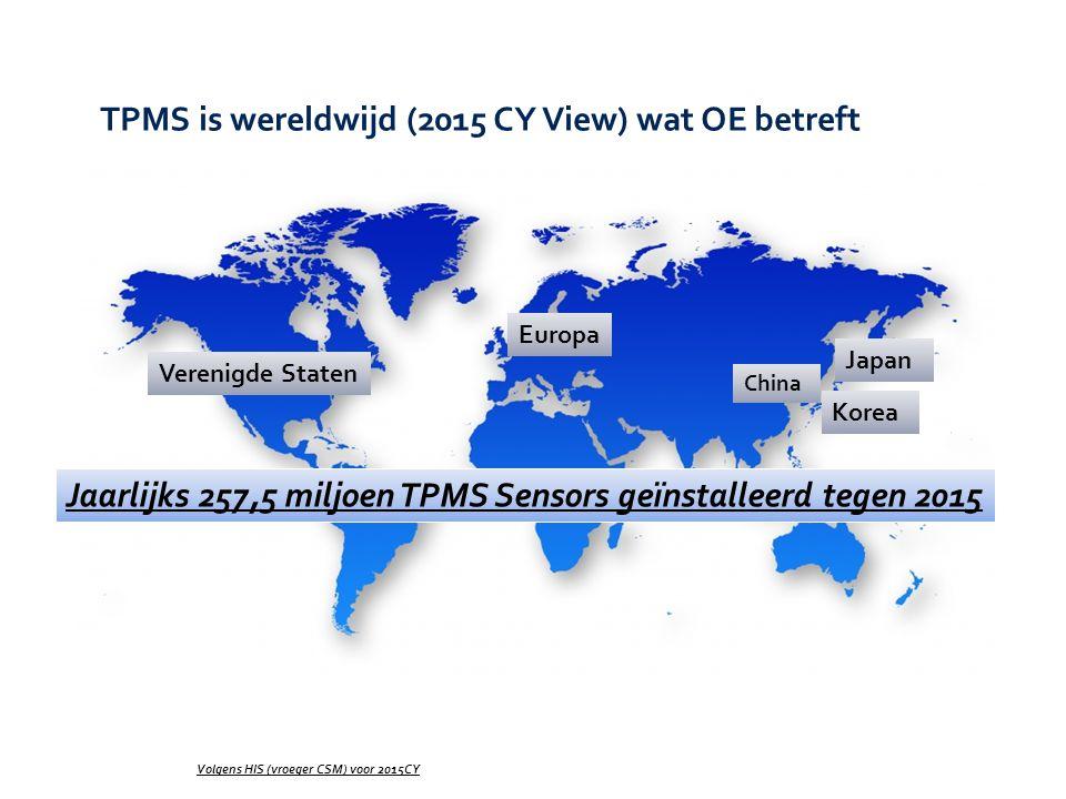 TPMS is wereldwijd (2015 CY View) wat OE betreft