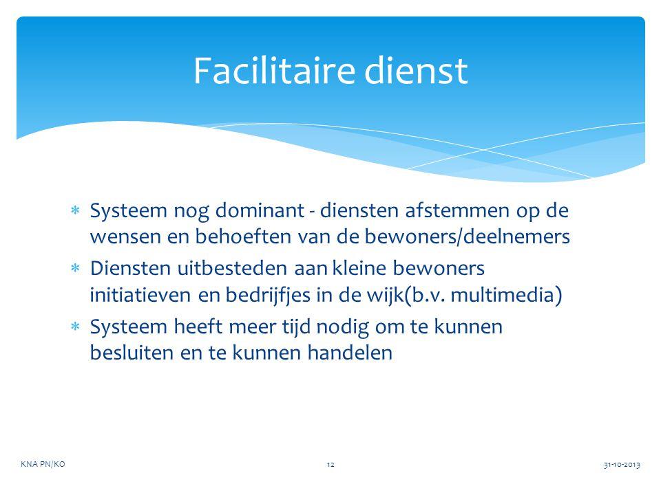 Facilitaire dienst Systeem nog dominant - diensten afstemmen op de wensen en behoeften van de bewoners/deelnemers.