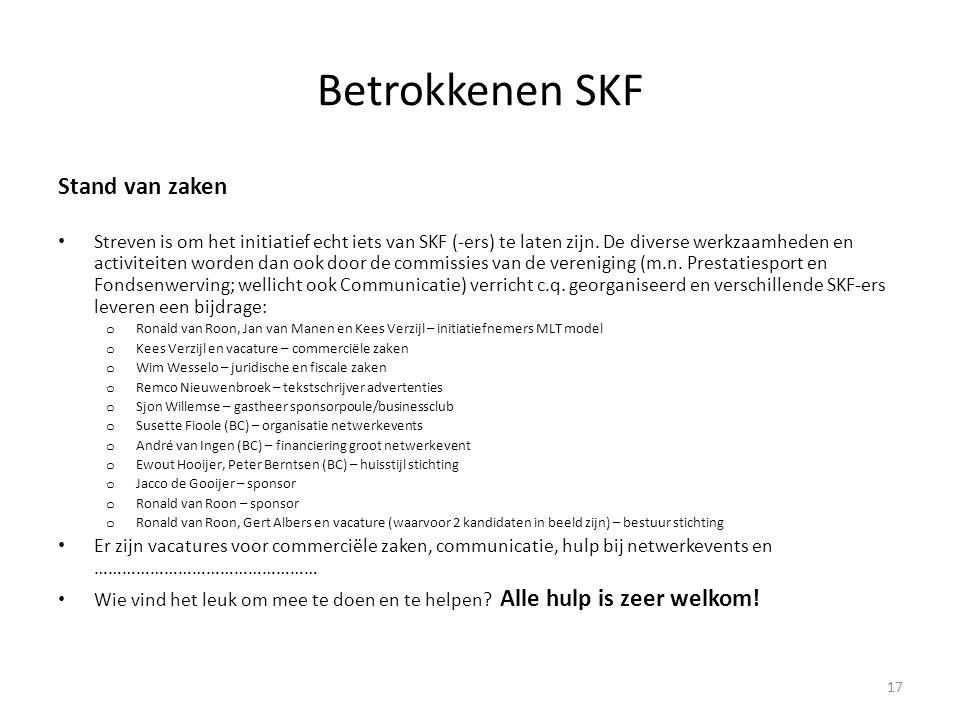 Betrokkenen SKF Stand van zaken
