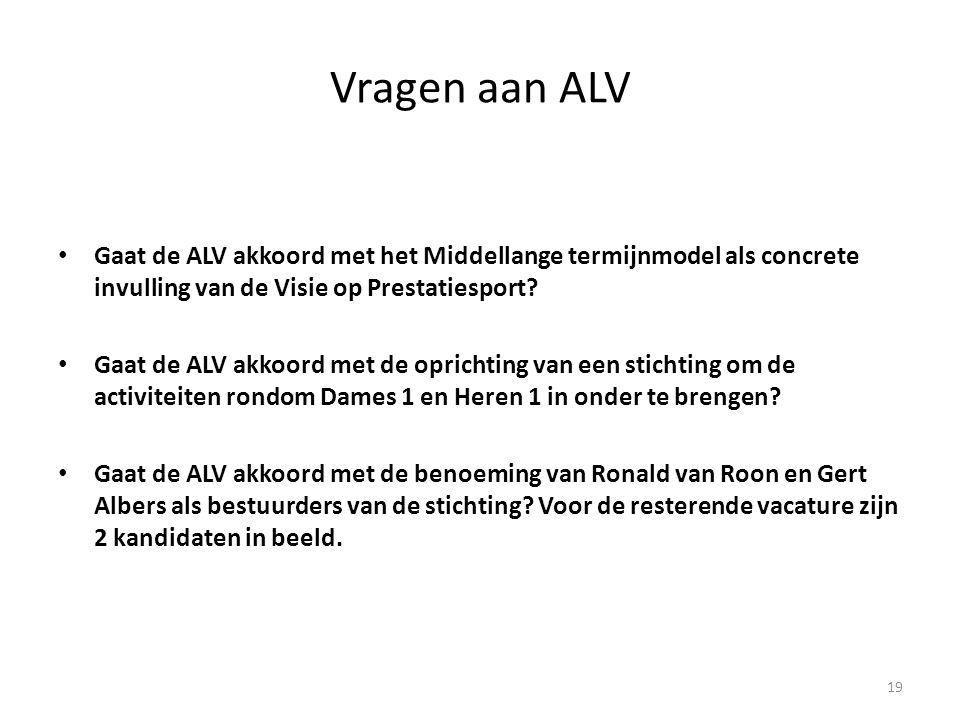 Vragen aan ALV Gaat de ALV akkoord met het Middellange termijnmodel als concrete invulling van de Visie op Prestatiesport