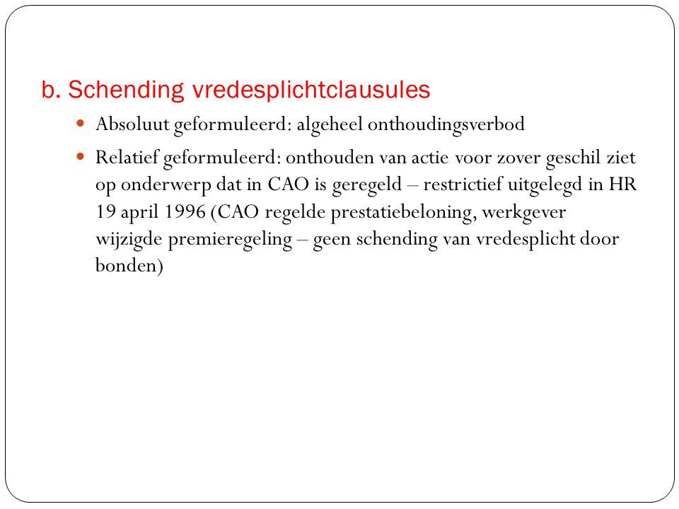 b. Schending vredesplichtclausules