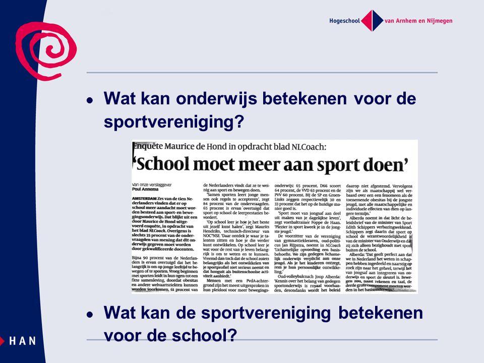 Wat kan onderwijs betekenen voor de sportvereniging