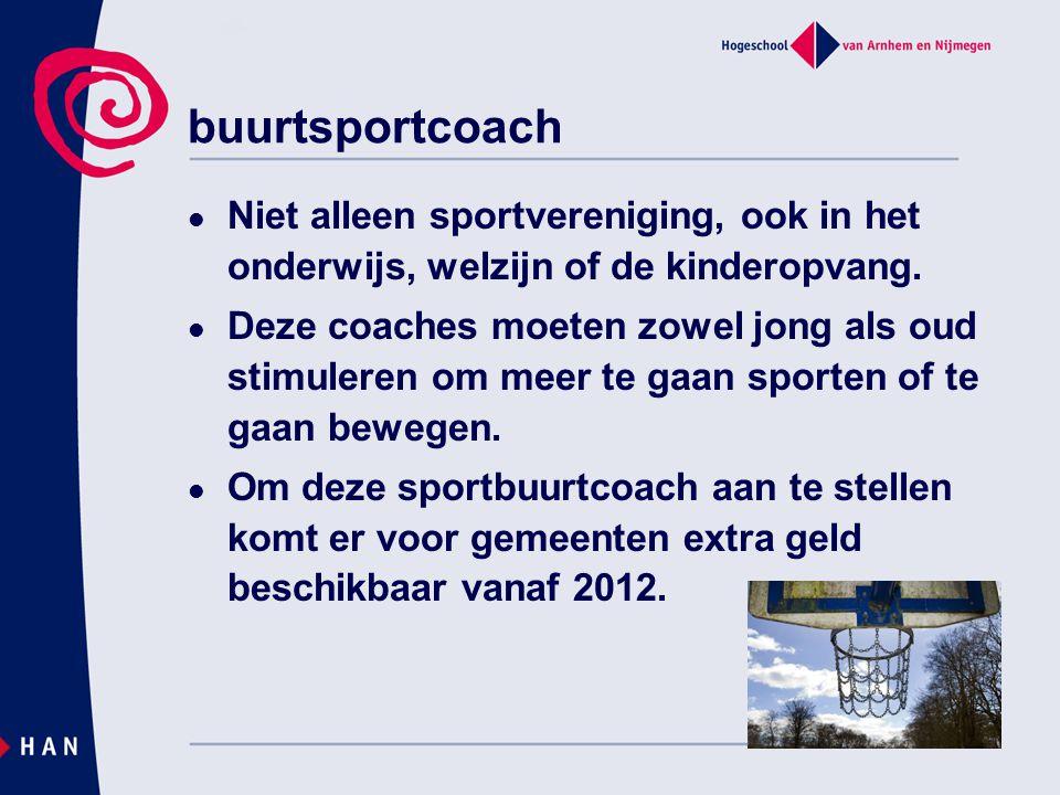 buurtsportcoach Niet alleen sportvereniging, ook in het onderwijs, welzijn of de kinderopvang.
