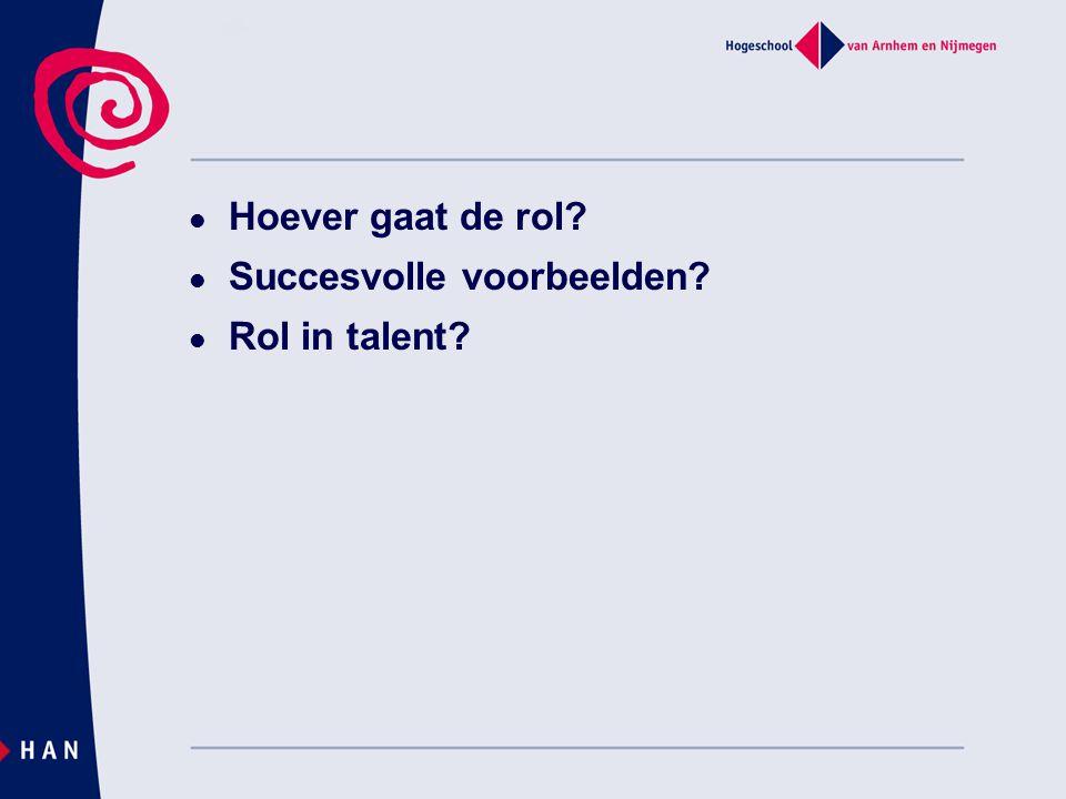 Hoever gaat de rol Succesvolle voorbeelden Rol in talent
