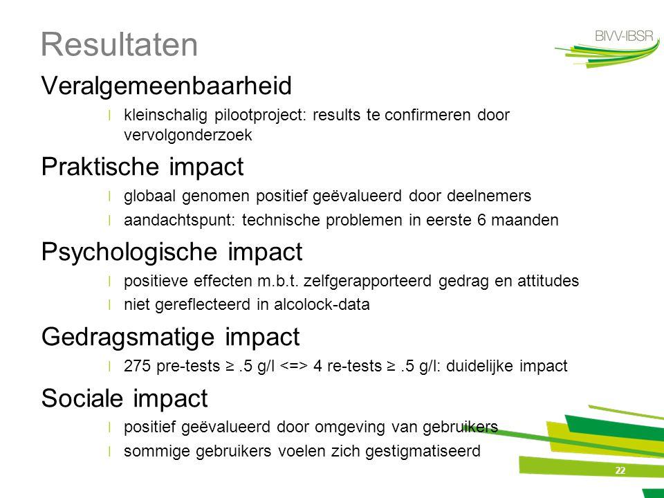 Resultaten Veralgemeenbaarheid Praktische impact Psychologische impact