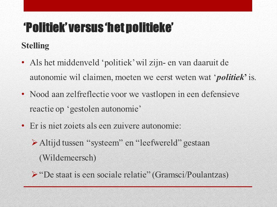 'Politiek' versus 'het politieke'