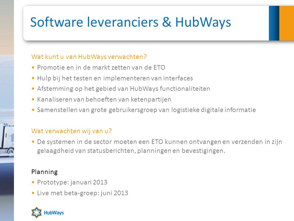Software leveranciers & HubWays