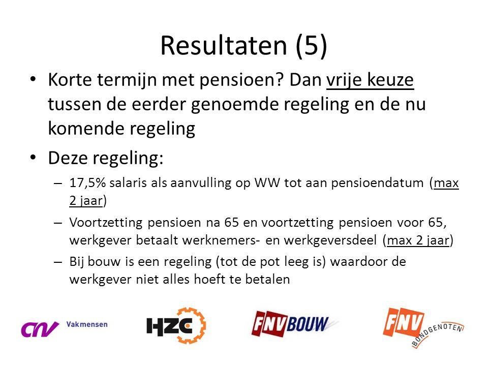 Resultaten (5) Korte termijn met pensioen Dan vrije keuze tussen de eerder genoemde regeling en de nu komende regeling.