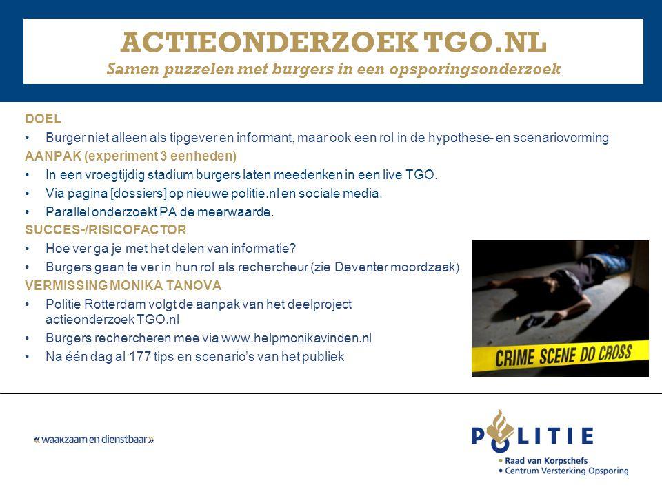 ACTIEONDERZOEK TGO.NL Samen puzzelen met burgers in een opsporingsonderzoek