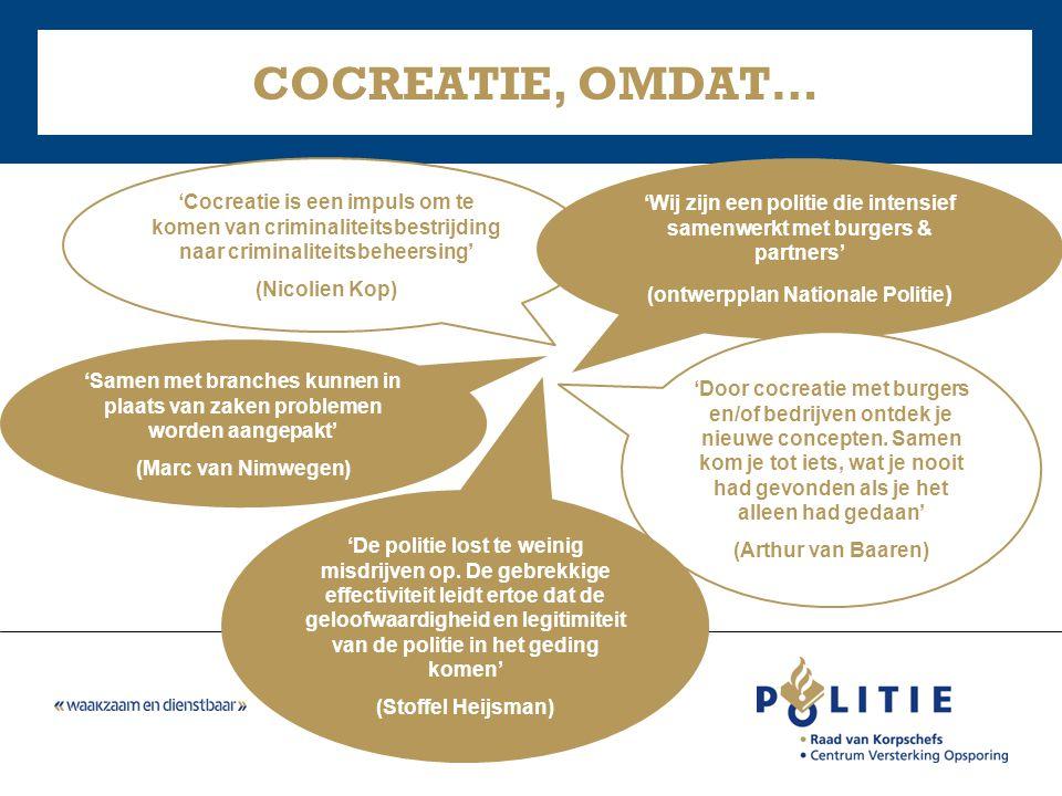 COCREATIE, OMDAT… 'Cocreatie is een impuls om te komen van criminaliteitsbestrijding naar criminaliteitsbeheersing'