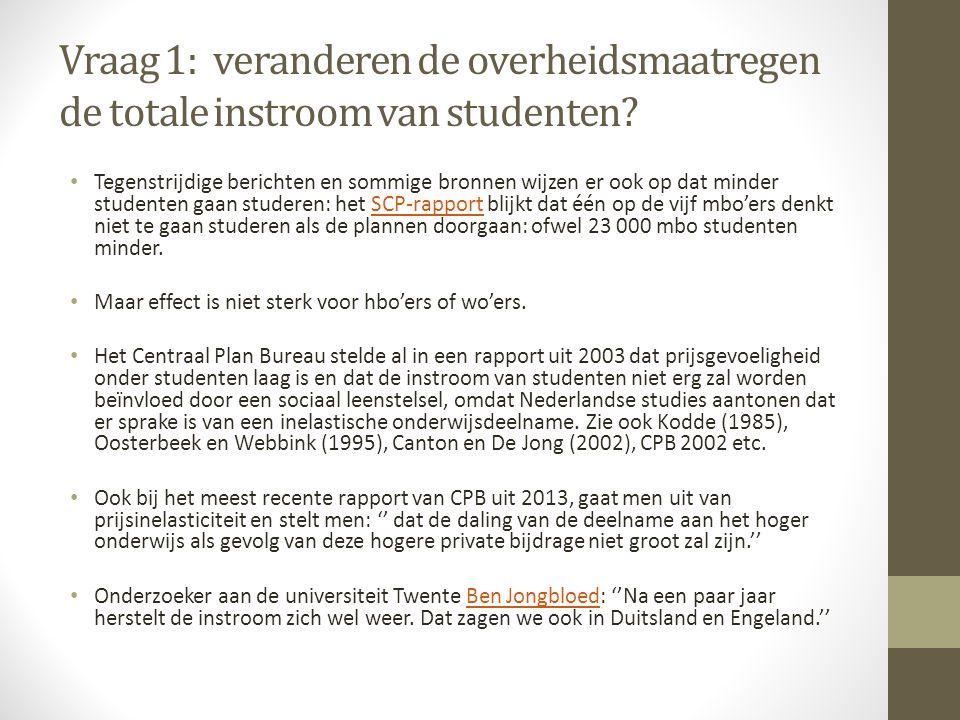 Vraag 1: veranderen de overheidsmaatregen de totale instroom van studenten