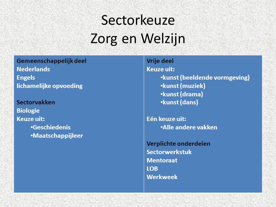 Sectorkeuze Zorg en Welzijn