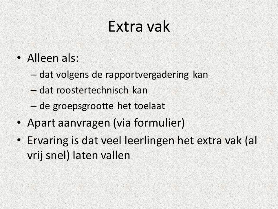Extra vak Alleen als: Apart aanvragen (via formulier)
