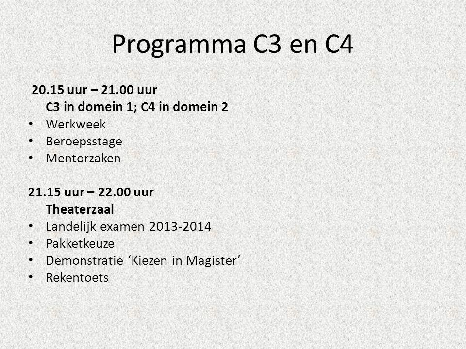 Programma C3 en C4 20.15 uur – 21.00 uur