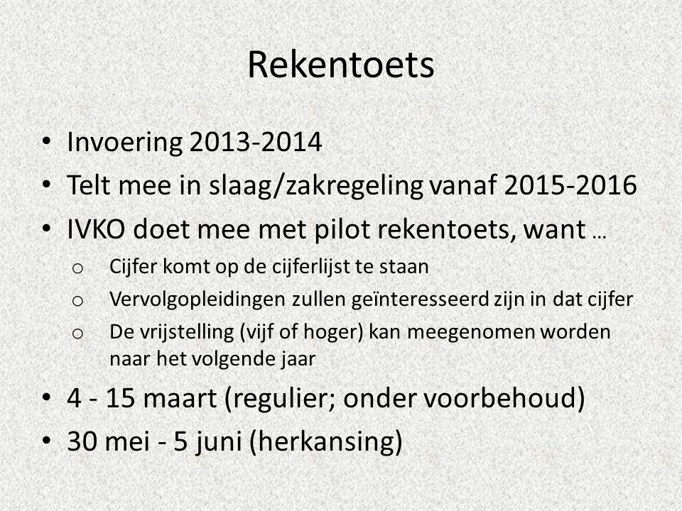 Rekentoets Invoering 2013-2014