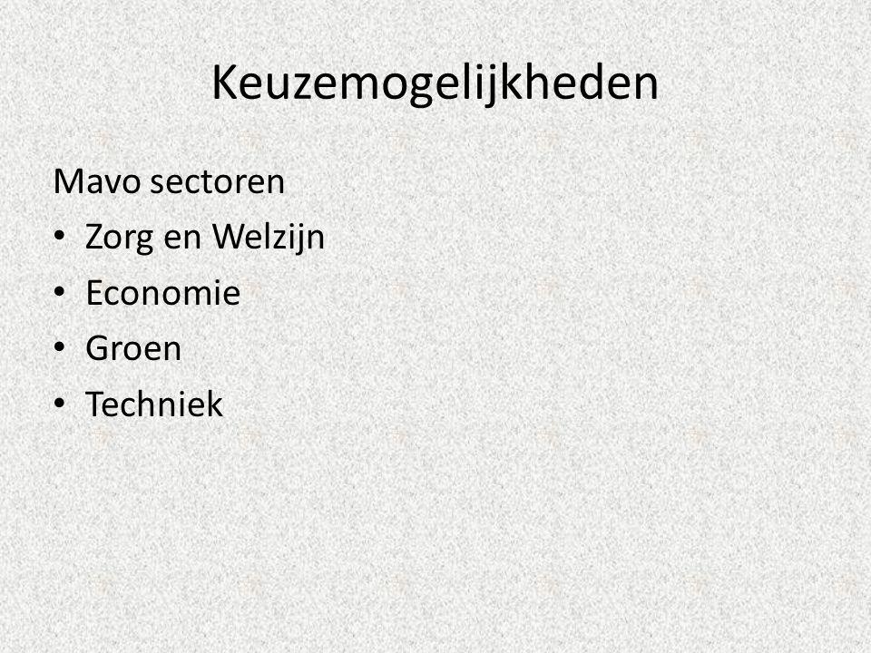 Keuzemogelijkheden Mavo sectoren Zorg en Welzijn Economie Groen