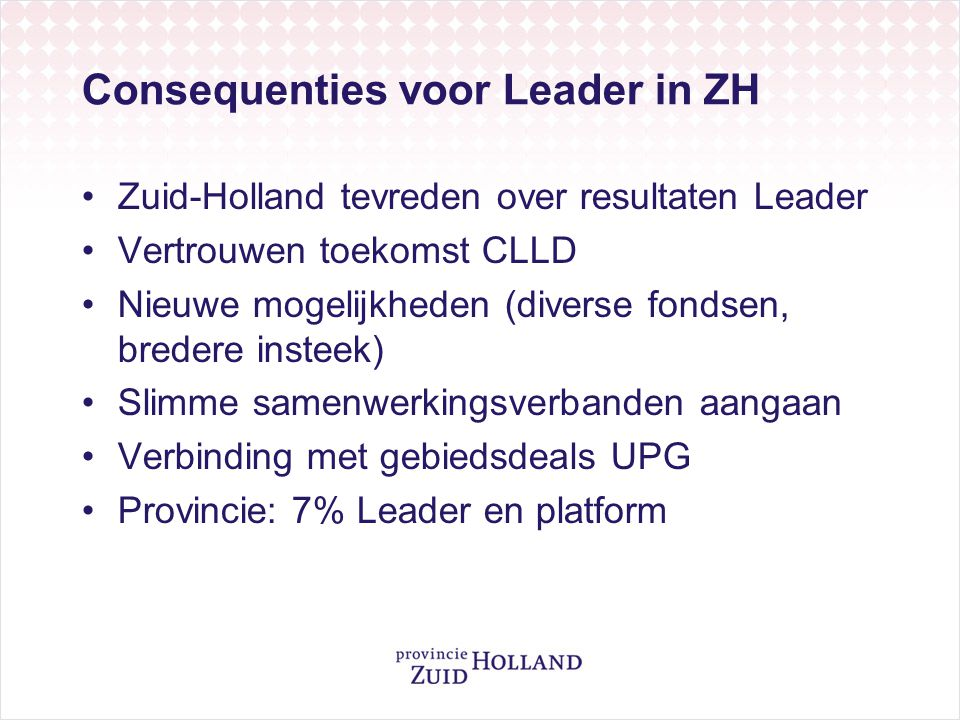 Consequenties voor Leader in ZH