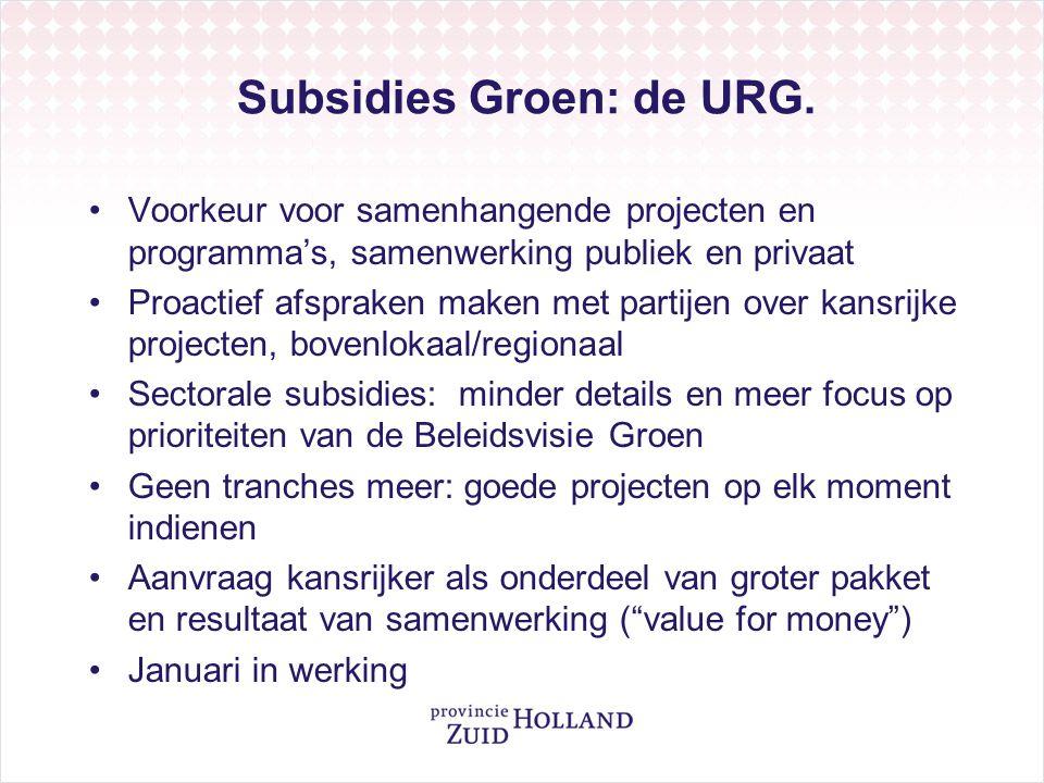 Subsidies Groen: de URG.