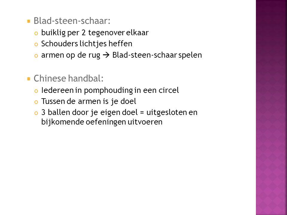 Blad-steen-schaar: Chinese handbal: buiklig per 2 tegenover elkaar