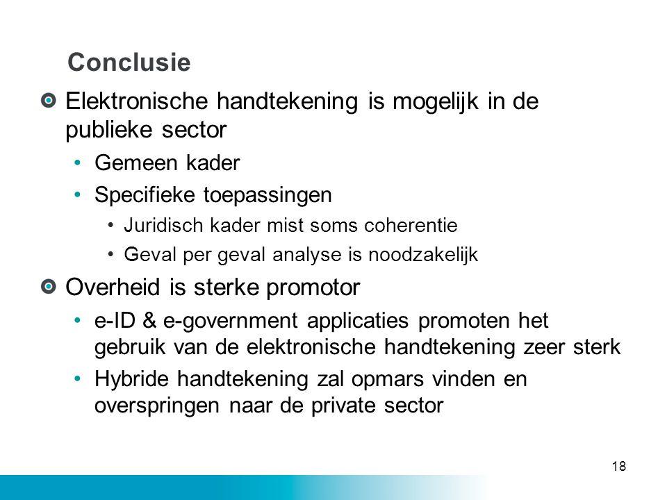 Conclusie Elektronische handtekening is mogelijk in de publieke sector
