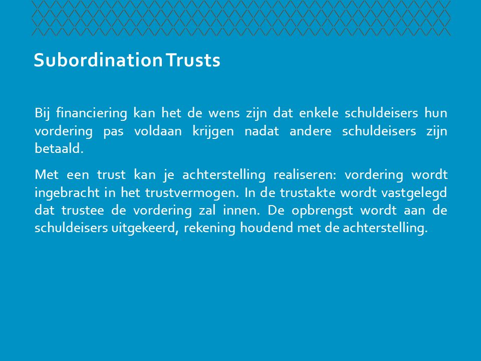 Subordination Trusts