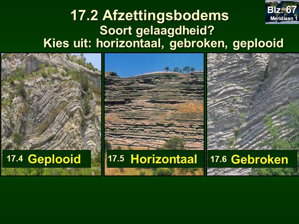 17.2 Afzettingsbodems Meridiaan 1. Blz. 67. Soort gelaagdheid Kies uit: horizontaal, gebroken, geplooid.