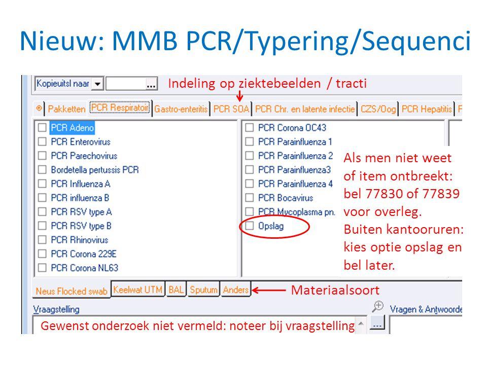 Nieuw: MMB PCR/Typering/Sequenci