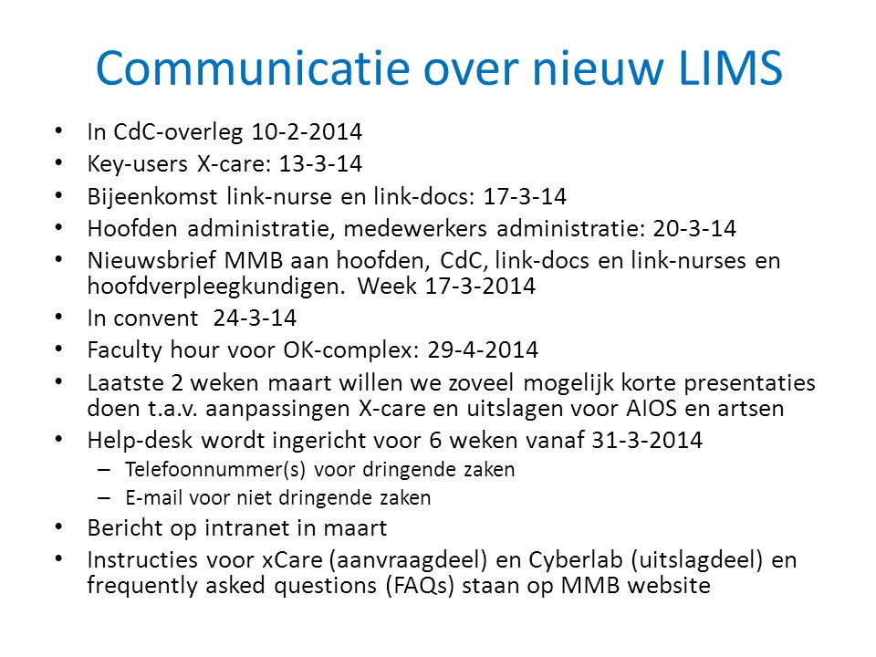 Communicatie over nieuw LIMS