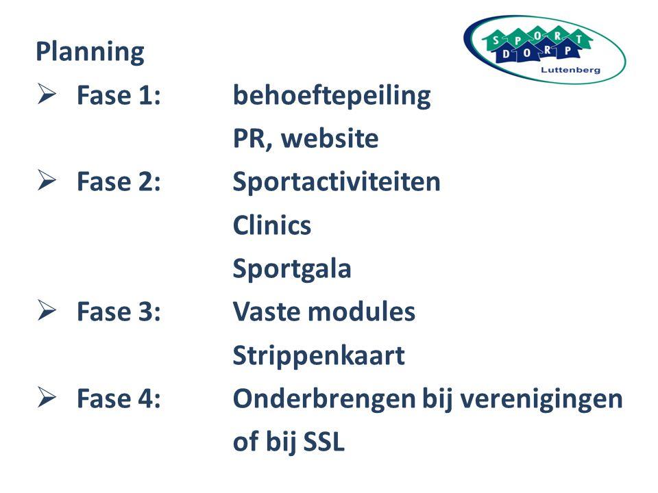 Planning Fase 1: behoeftepeiling. PR, website. Fase 2: Sportactiviteiten. Clinics. Sportgala.