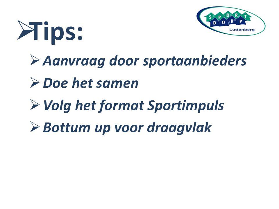 Tips: Aanvraag door sportaanbieders Doe het samen