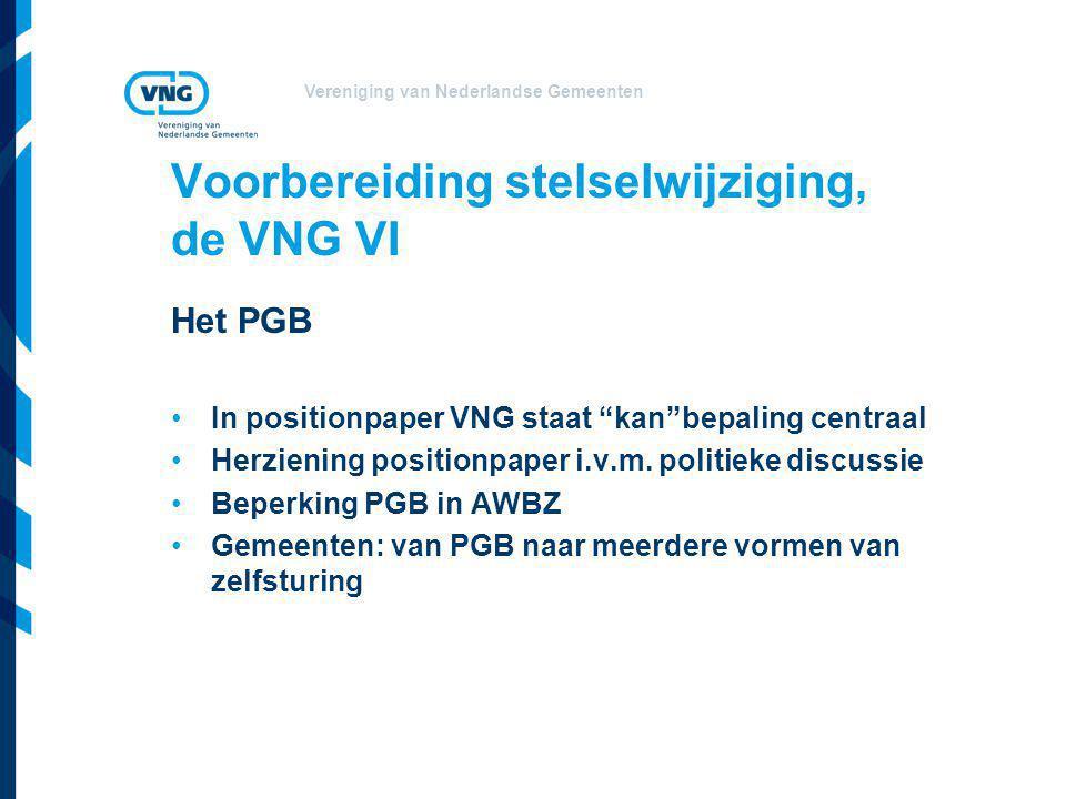 Voorbereiding stelselwijziging, de VNG VI