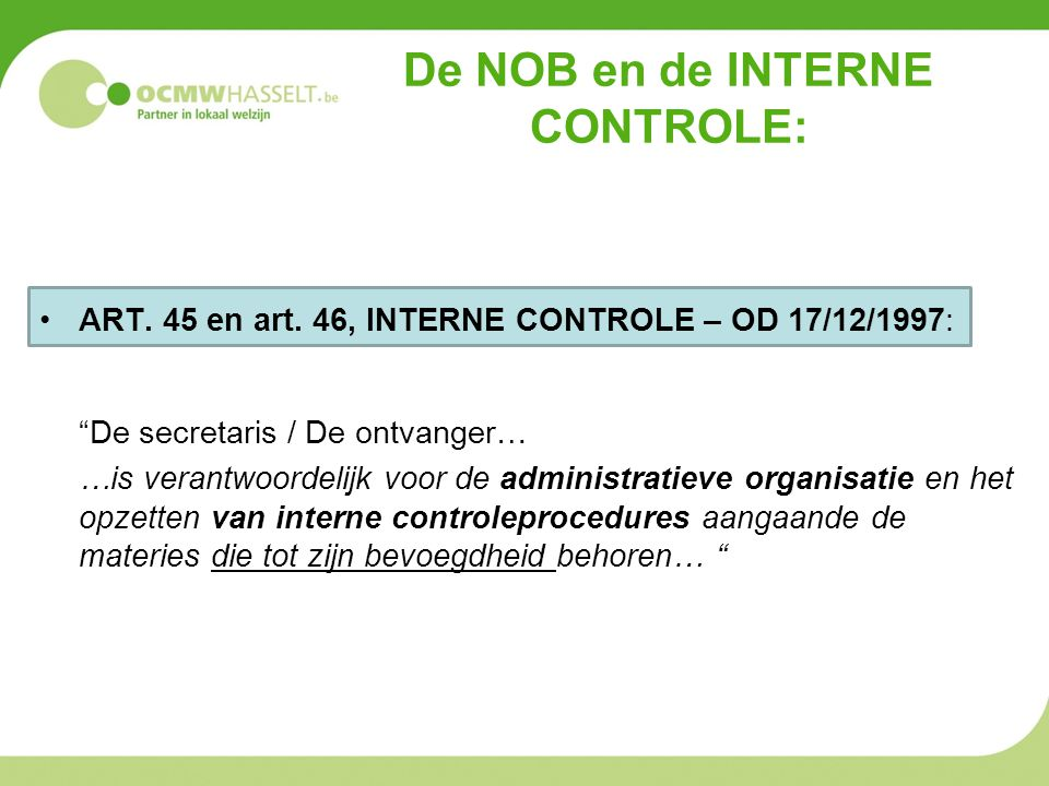 De NOB en de interne controle: