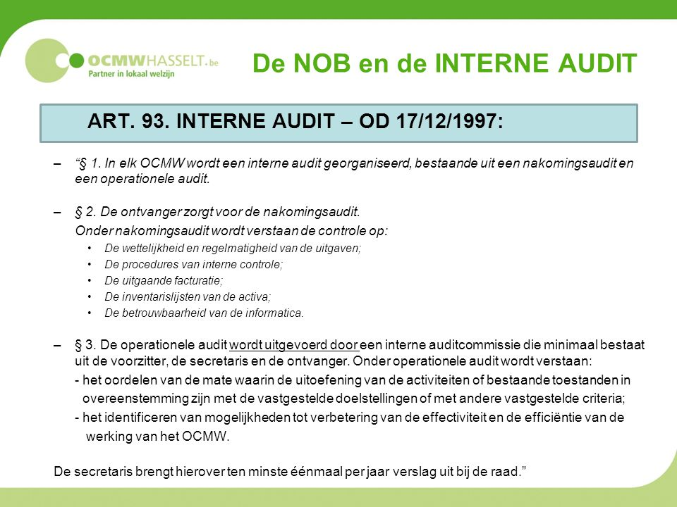 De NOB en de interne audit
