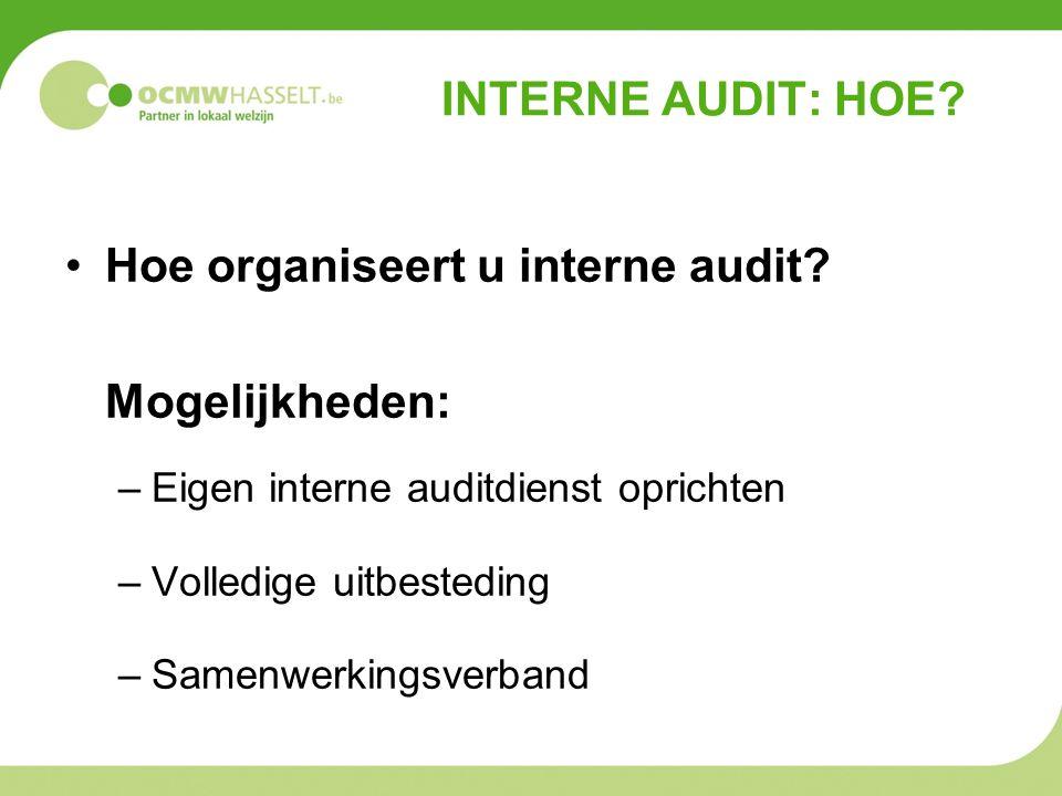 Hoe organiseert u interne audit Mogelijkheden: