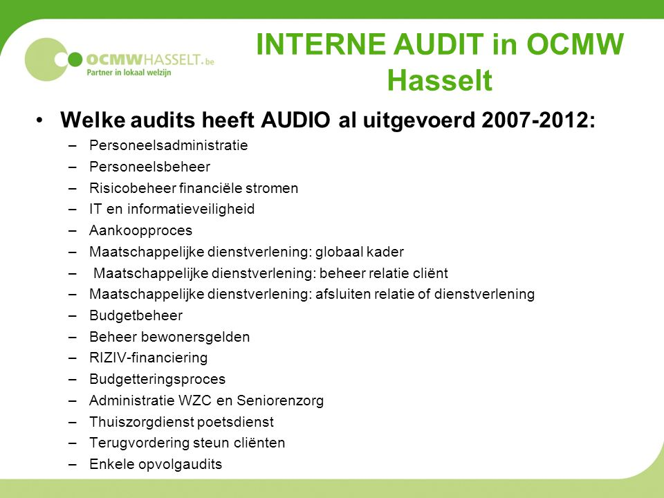 INTERNE AUDIT in OCMW Hasselt