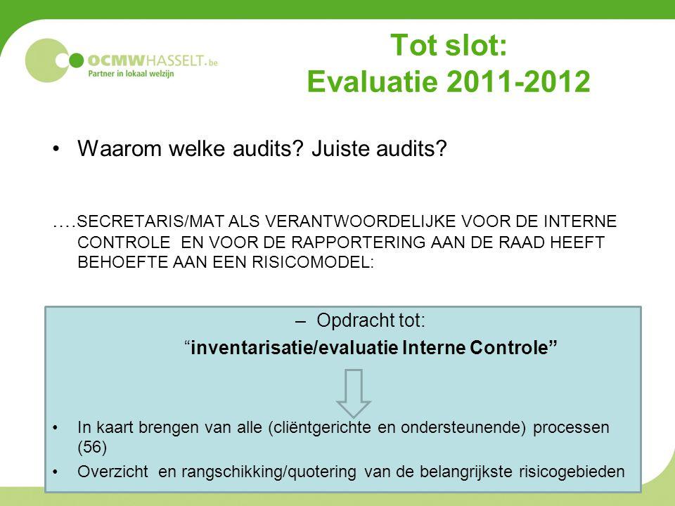 inventarisatie/evaluatie Interne Controle
