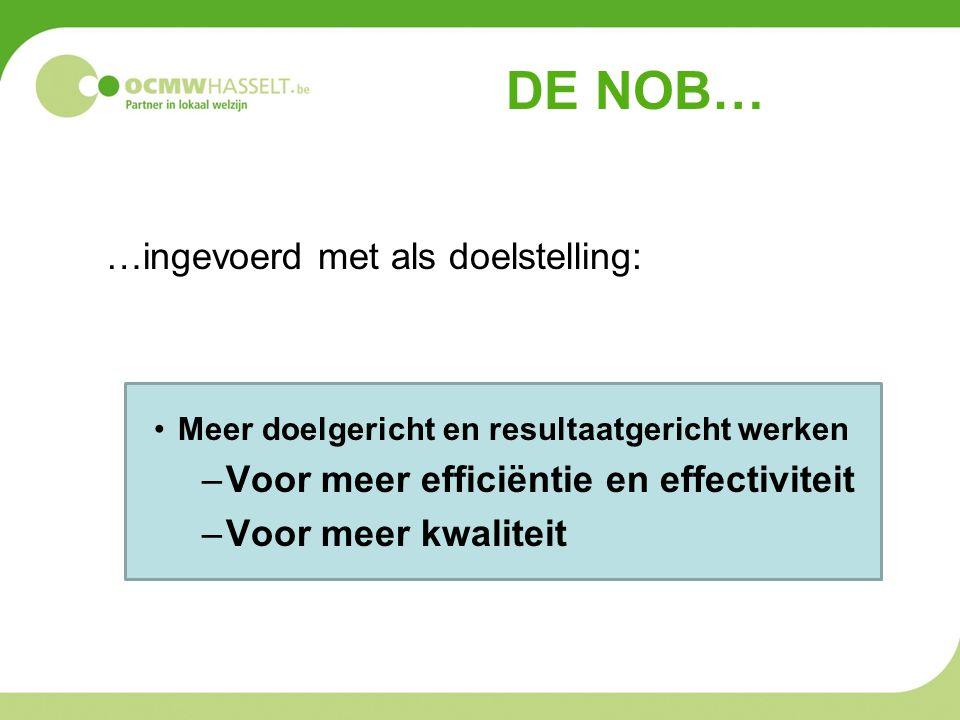DE NOB… …ingevoerd met als doelstelling: