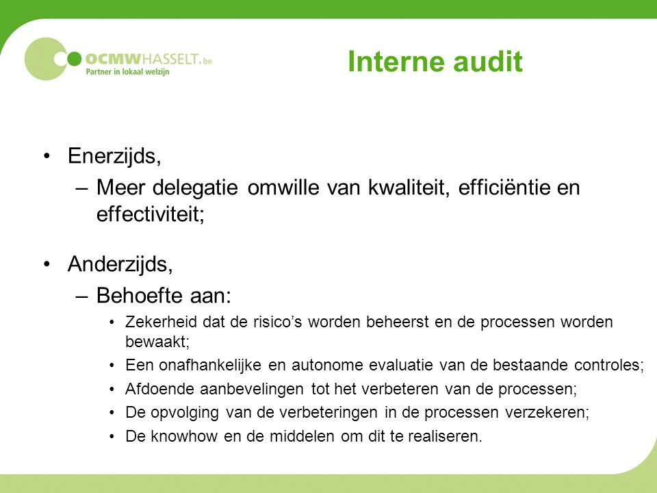 Interne audit Enerzijds,