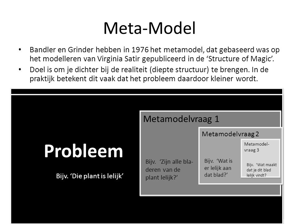 Probleem Probleem Meta-Model Metamodelvraag 1 Metamodelvraag 1