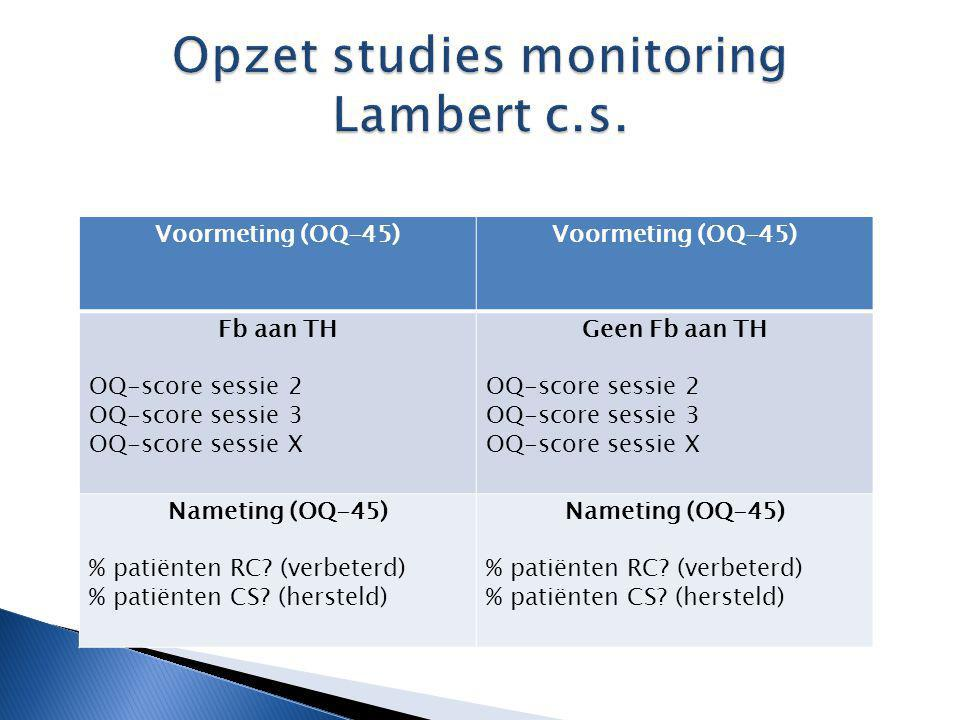 Opzet studies monitoring Lambert c.s.